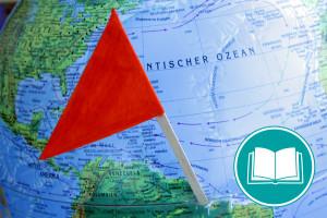 Weltkarte mit roter Fahne, die einen Punkt markiert.