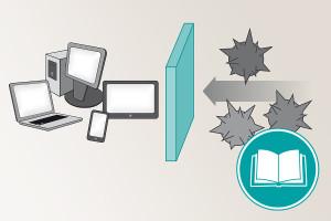 Darstellung von Computern, die durch eine Wand vor Viren geschützt werden (Firewall )
