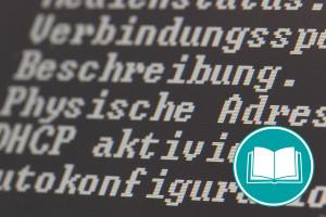 Weiße Schrift auf schwarzem Computerbildschirm