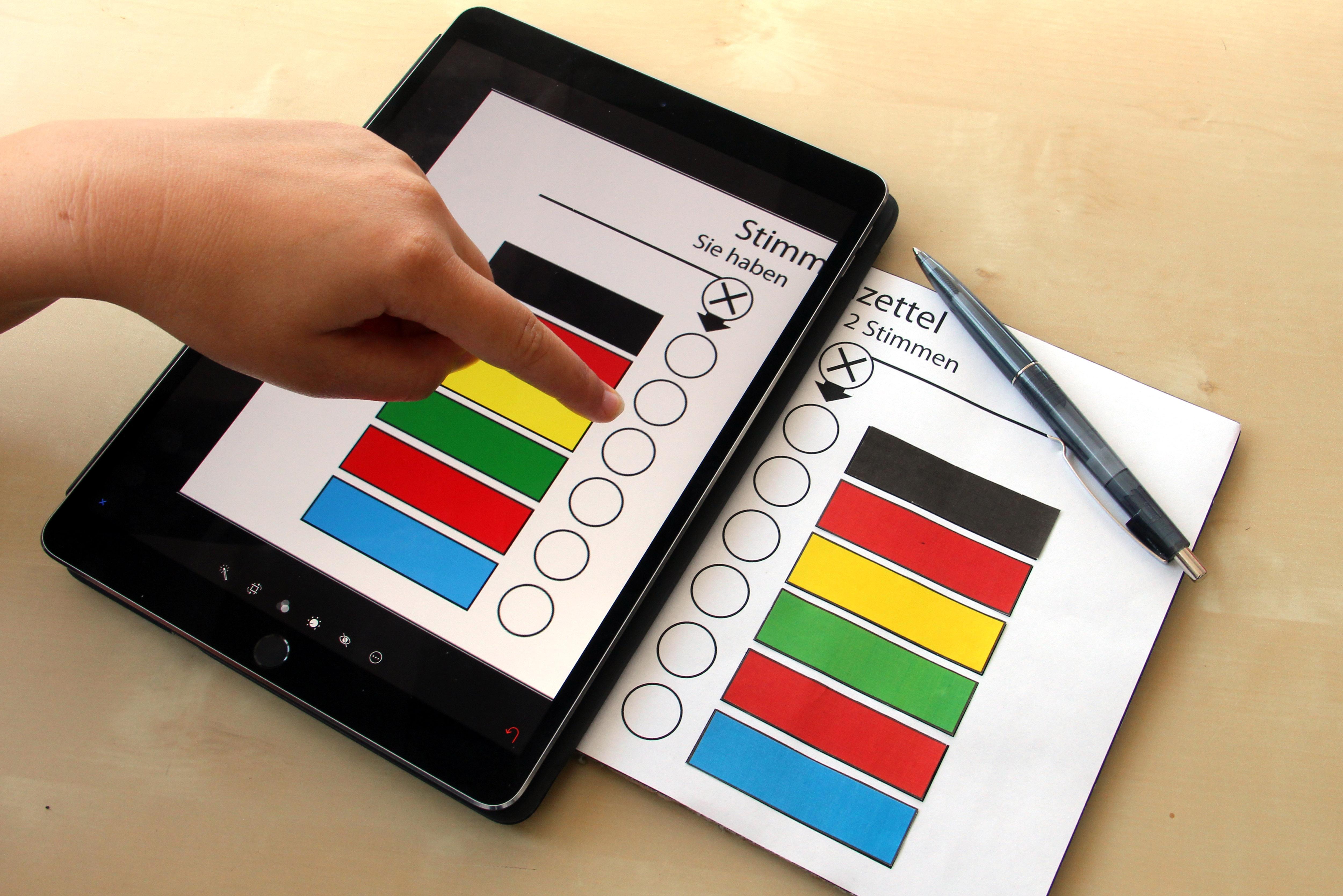 Das Bild zeigt einen Wahlzettel, einmal auf einem Tablet und einmal auf einem Zettel.