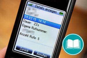 Kontakt, Anrufzeit und Dauer eines Telefonats. Diese Daten werden auf einem Telefon-Display angezeigt.