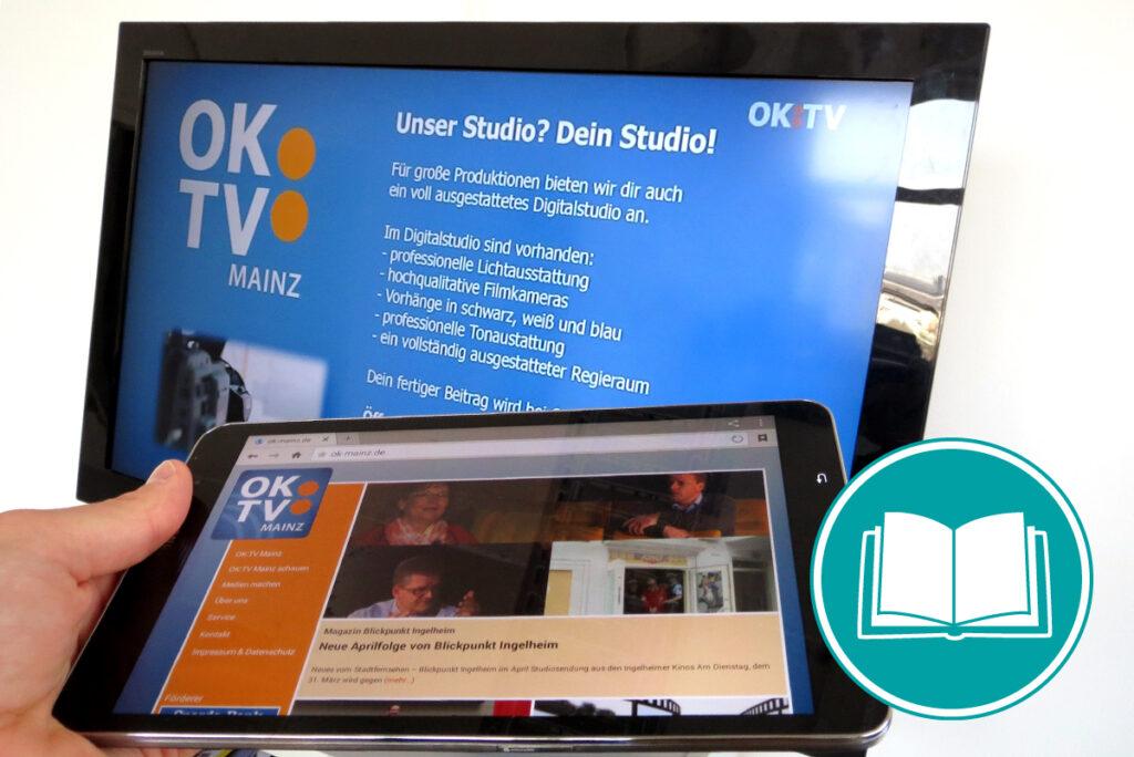 Tablet, auf dem die Website des Senders geöffnet ist, der im Hintergrund auf dem Fernseher eingeschaltet ist.