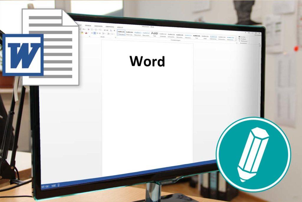 Bildschirm mit geöffnetem Word-Dokument