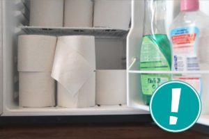 Ein Kühlschrank voller Klopapier