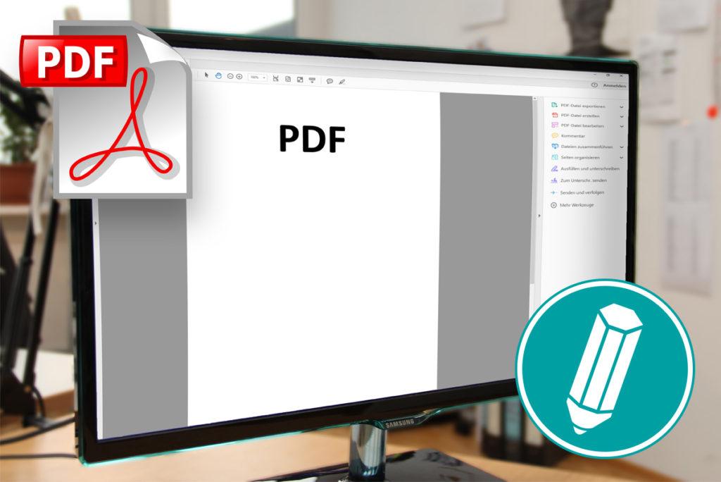 Bildschirm mit geöffnetem PDF Dokument.