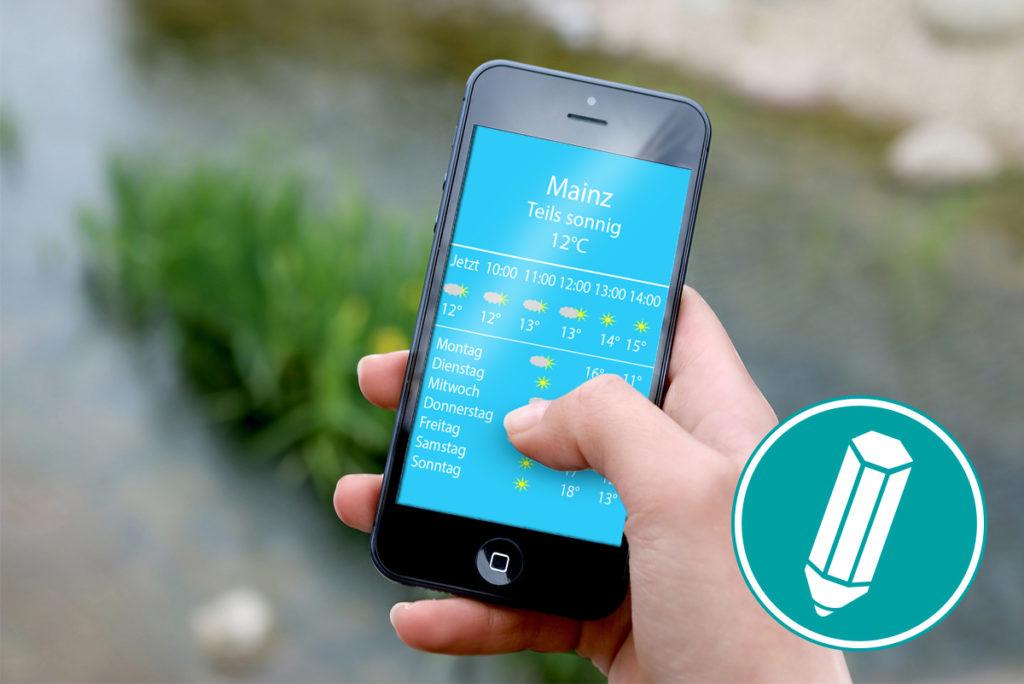 Smartphone mit einer geöffneten Wetterapp