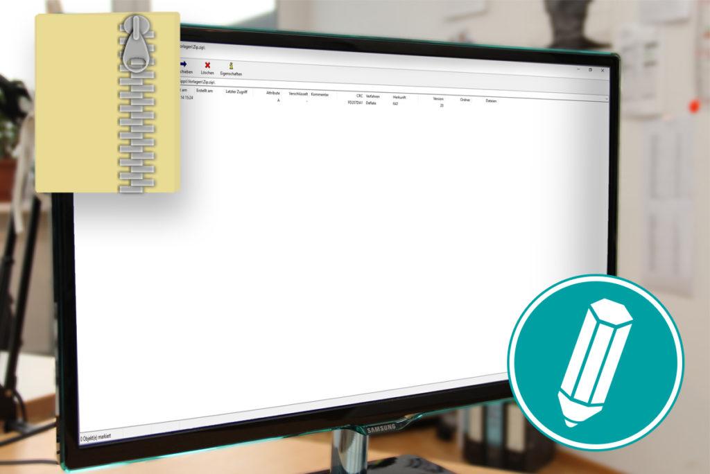 Ein Bildschirm mit einer geöffneten ZIP Datei