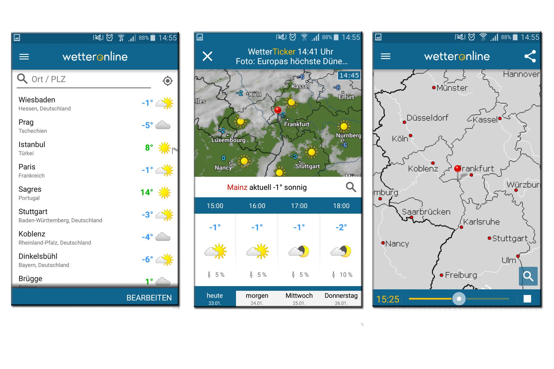 Drei Wetter-Apps nebeneinander