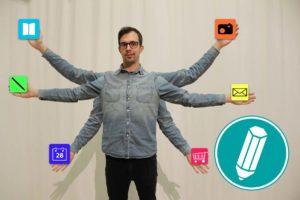 Ein Mann mit sechs Armen hält in jeder hat eine App fest.