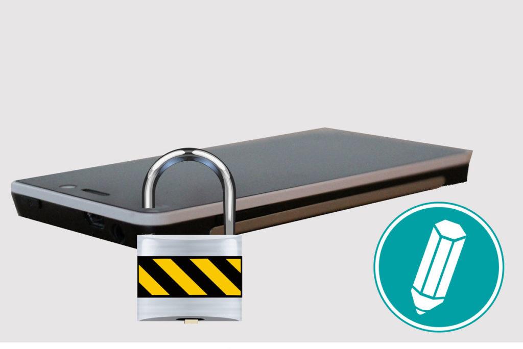 Ein Schloß ist an einem Smartphone befestigt.