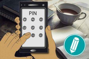 Ein Smartphone ist zu sehen, auf dem eine PIN eingegeben wird.