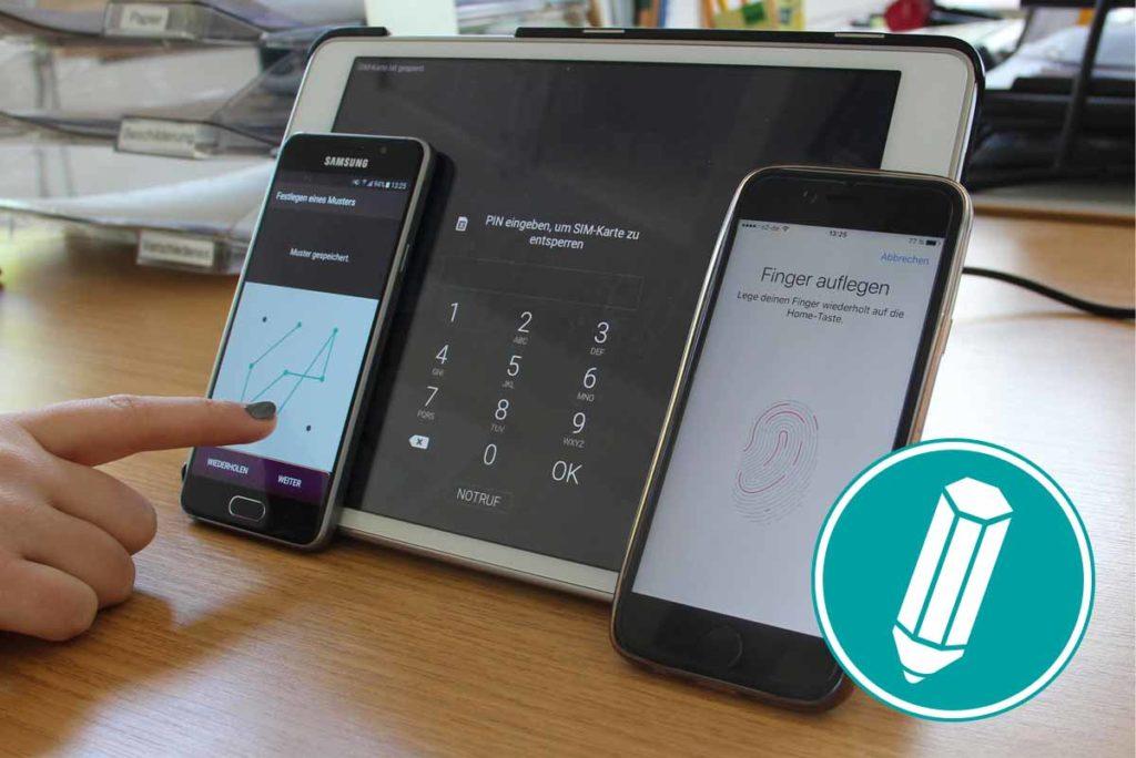 Auf mehreren Geräten sind verschiedene Bildschirmsperren zu sehen.