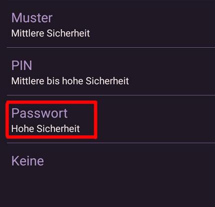auf passwort tippen - Muster Passwort