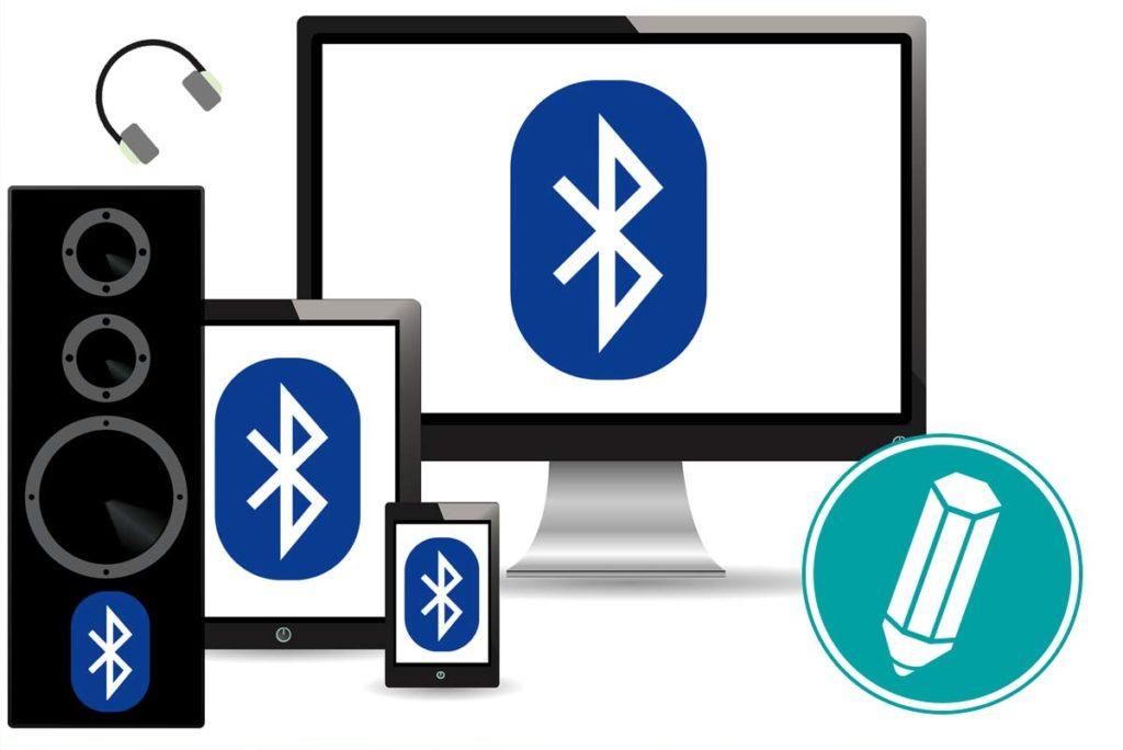Mehrere Geräte sind abgebildet, auf denen jeweils das Bluetooth-Symbol zu sehen ist.