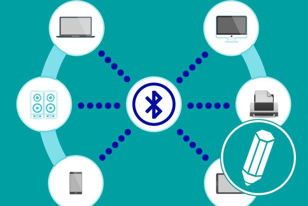 Das Bluetooth-Symbol ist mit verschiedenen Geräten verbunden.