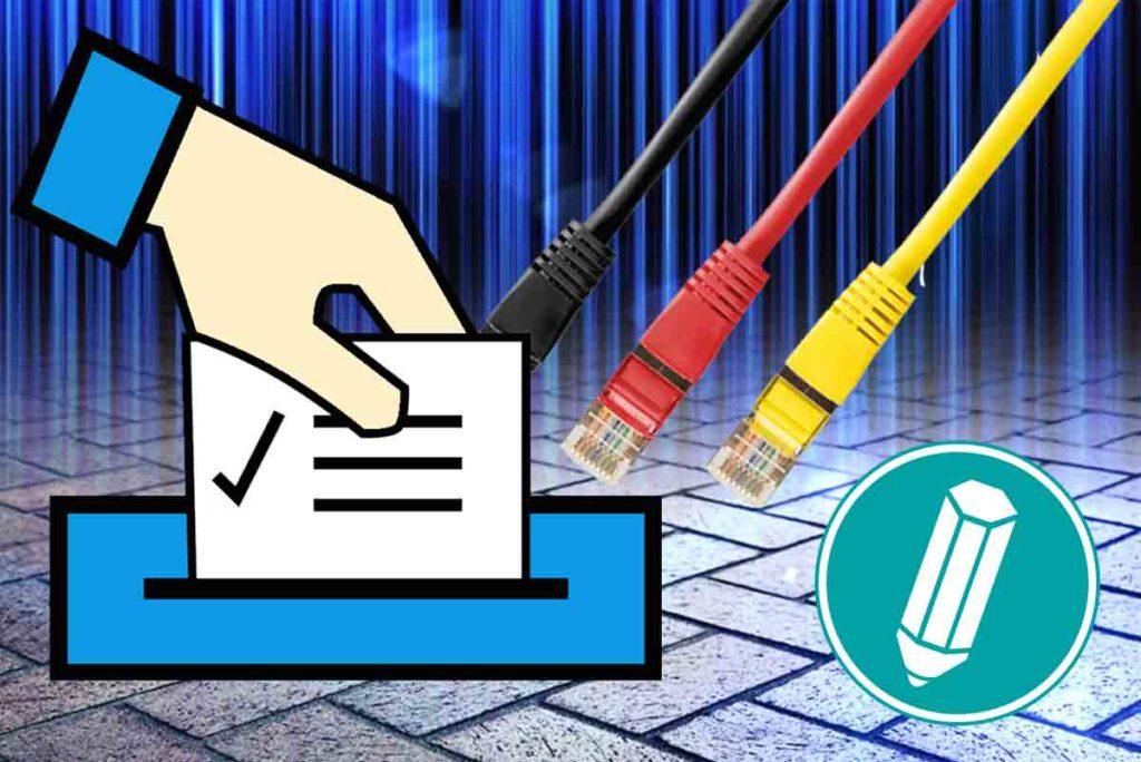 Ein Internetkabel ist an eine Wahlurne angeschlossen.