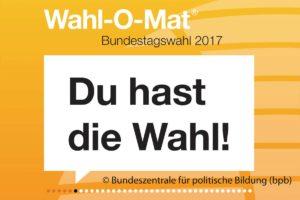 Die Startseite des Wahl-O-Mats ist zu sehen.