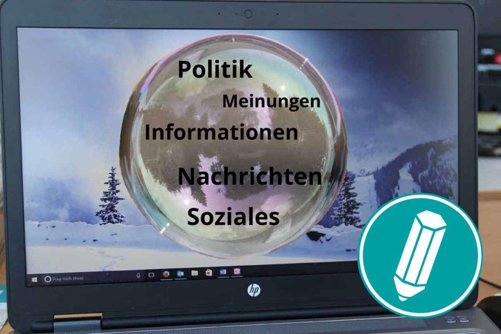 Auf einem Laptop-Bildschirm ist eine Seifenblase zu sehen.